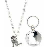 Pet Friends Pave Cat Pendant with Matching Charm, Silver