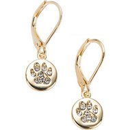 Pet Friends Pave Paw Medallion Drop Earrings