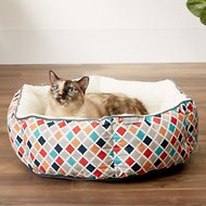 Frisco Sherpa Cuddler Hexagon Dog & Cat Bed, Earthy Tone Geo Print, Small