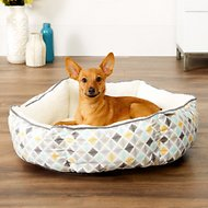 Frisco Sherpa Cuddler Hexagon Dog & Cat Bed, Sky Tone Geo Print, Small