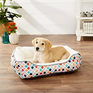 Frisco Sherpa Bolster Rectangular Dog Bed , Earthy Tone Geo Print , Medium
