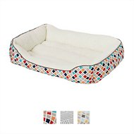 Frisco Sherpa Bolster Rectangular Dog Bed, Earthy Tone Geo Print , Large