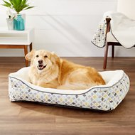 Frisco Sherpa Bolster Rectangular Dog Bed, Sky Tone Geo Print, Large