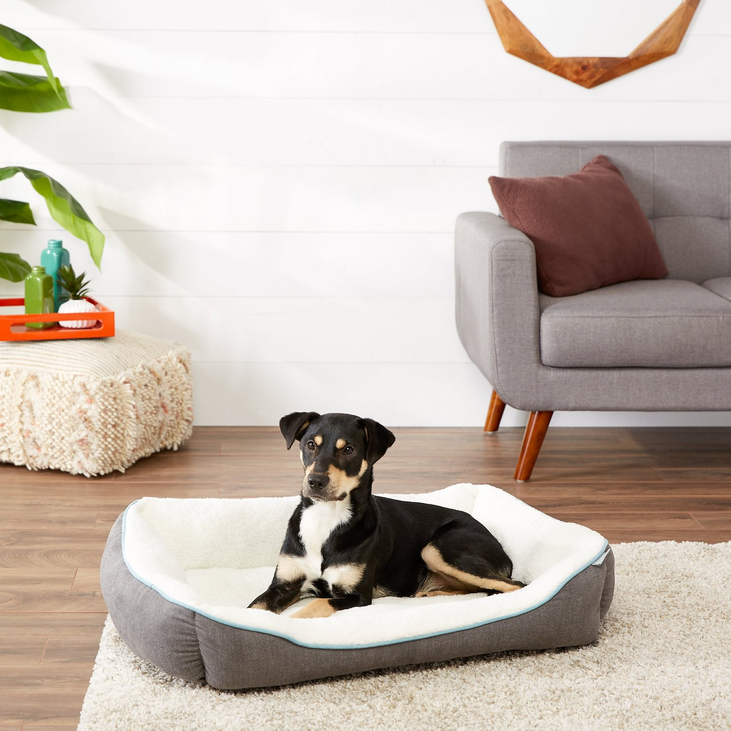 Lovely Frisco Sherpa Bolster Rectangular Dog Bed , Gray, Large - Chewy.com RM04