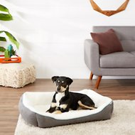Frisco Sherpa Bolster Rectangular Dog Bed, Gray, Large
