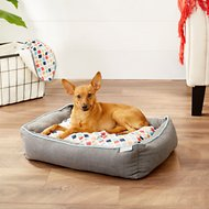 Frisco Ortho Sherpa Cuddler & Cushion Dog Bed, Earthy Tone Geo Print, Small/Medium