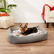 Frisco Ortho Sherpa Cuddler & Cushion, Dog & Cat Bed, Earthy Tone Geo Print, Large