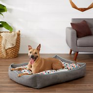 Frisco Ortho Sherpa Cuddler & Cushion, Dog Bed, Earthy Tone Geo Print, X-Large