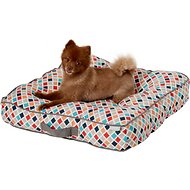 Frisco Tufted Lounger Square Dog Bed, Earthy Tone Geo Print, Medium/Large