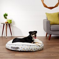 Frisco Sherpa Lounger Circular Dog Bed, Sky Tone Geo Print, Large