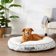 Frisco Sherpa Lounger Circular Dog Bed, Sky Tone Geo Print, X-Large
