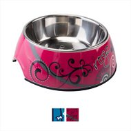 Rogz Pupz Bubble Dog Bowl, Medium, Pink Bones