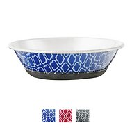 OurPets Rubber-Bonded Stainless Steel Waterbath Collection Dog & Cat Bowl, X-Small, Blue