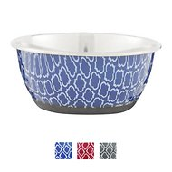 OurPets Rubber-Bonded Stainless Steel Waterbath Collection Dog & Cat Bowl, Small, Blue