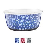 OurPets Rubber-Bonded Stainless Steel Waterbath Collection Dog & Cat Bowl, Medium, Blue