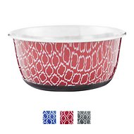OurPets Rubber-Bonded Stainless Steel Waterbath Collection Dog & Cat Bowl, Medium, Red