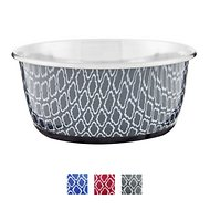 OurPets Rubber-Bonded Stainless Steel Waterbath Collection Dog & Cat Bowl, Medium, Gray