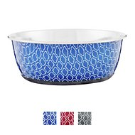 OurPets Rubber-Bonded Stainless Steel Waterbath Collection Dog & Cat Bowl, Large, Blue