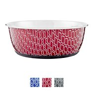 OurPets Rubber-Bonded Stainless Steel Waterbath Collection Dog & Cat Bowl, Large, Red