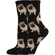 Socksmith Women's Pug Crew Socks, Black