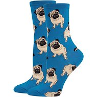 Socksmith Women's Pug Crew Socks, Blue