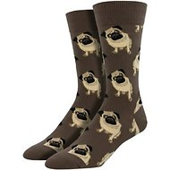 Socksmith Men's Pug Crew Socks, Brown