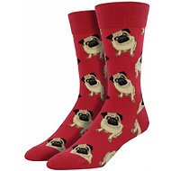 Socksmith Men's Pug Crew Socks, Terracotta Red
