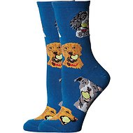 Socksmith Women's Ball Dog Crew Socks, Antique Blue