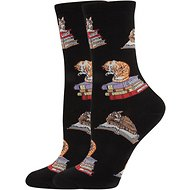 Socksmith Women's Cats On Books Crew Socks, Black