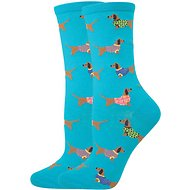 Socksmith Women's Haute Dog Crew Socks, Blue Lagoon