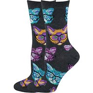 Socksmith Women's Kittenster Crew Socks, Charcoal
