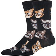 Socksmith Men's Kittenster Crew Socks, Black