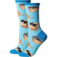Socksmith Women's Cat in a Box Crew Socks, Azure