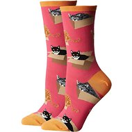Socksmith Women's Cat in a Box Crew Socks, Pink