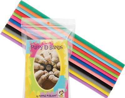 Puppies in Bloom Colorful Puppy Litter Identification Bands, 12 count