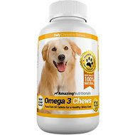 Amazing Nutritionals Omega 3 Chews Pure Fish Oil Daily Dog Supplement, 120 count