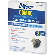 D-Worm Combo Broad Spectrum De-Wormer Chewable Tablets for Medium & Large Dogs Over 25 lbs, 2 count