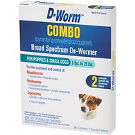 D-Worm Combo Broad Spectrum De-Wormer Chewable Tablets for Puppies & Small Dogs 6-25 lbs, 2 count