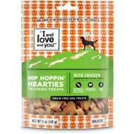 I and Love and You Hip Hoppin' Hearties Grain-Free Chicken Dog Treats, 5-oz bag