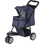 IRIS Dog & Cat Folding Stroller, 3-wheel, Denim