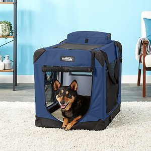 EliteField 3-Door Collapsible Soft-Sided Dog Crate, Blue, 30 inch