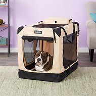 EliteField 3-Door Folding Soft-Sided Dog Crate, 36-inch, Beige