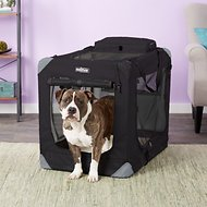 EliteField 3-Door Folding Soft-Sided Dog Crate, 36-inch, Black