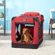 EliteField 3-Door Folding Soft-Sided Dog Crate, Maroon, 36-in