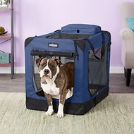 EliteField 3-Door Folding Soft-Sided Dog Crate, Blue, 36-in