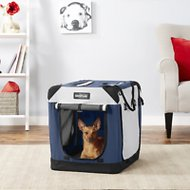 EliteField 4-Door Folding Soft-Sided Dog Crate with Curtains, Navy Blue & Gray, 24-in