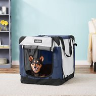 EliteField 4-Door Folding Soft-Sided Dog Crate with Curtains, Navy Blue & Gray, 30-in