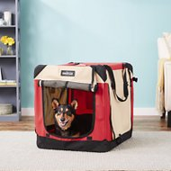 EliteField 4-Door Folding Soft-Sided Dog Crate with Curtains, Red & Beige, 30-in