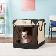 EliteField 4-Door Folding Soft-Sided Dog Crate with Curtains, Brown & Beige, 36-in