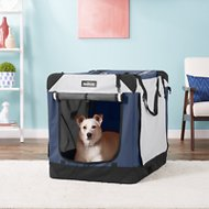 EliteField 4-Door Folding Soft-Sided Dog Crate with Curtains, Navy Blue & Gray, 36-in